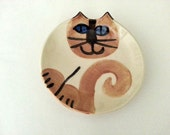 Siamese Cat Pottery: feline decor or feeding whimsical art collectible stoneware food safe dish