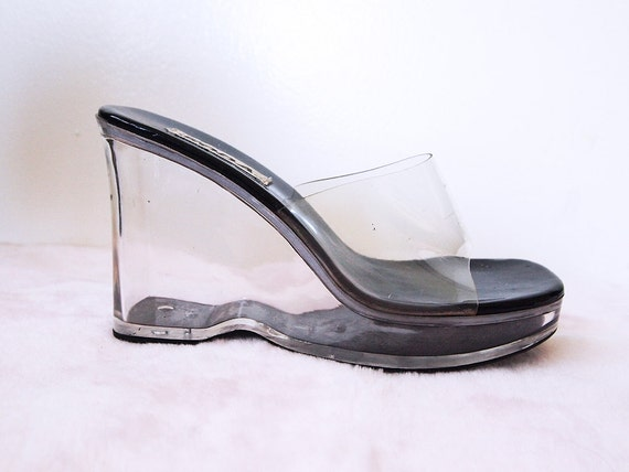 Lucite Heels Vintage 90s Platform Sandals Clear Acrylic See