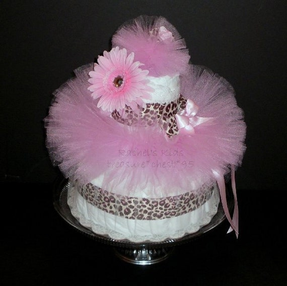 Pink & Brown Diaper Cake Baby Shower Centerpiece Gift Animal Print Cheetah Leopard Giraffe Newborn Tutu Matching Daisy Headband Infant Girl