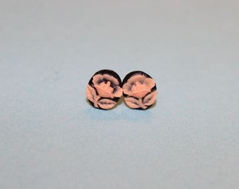 Tiny Black & Pink Flower Cameo Earrings