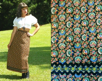 SALE 1970s Vintage Quilted Maxi Skirt Gem Tone Quilted Floral Fan Print High Waist Maxi Skirt Jewel Print Fall Skirt Straight Cut Size Small