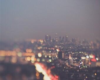 LA at night photograph, Los Angeles skyline print, cityscape, bokeh, abstract decor, modern, purple gold, California travel, Hollywood