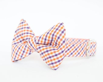 Clemson Tigers Bow Tie Dog Collar in Gingham