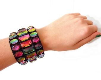 Rainbow Rhinestone Cuff Bracelet, Black Glitter Cuff Bracelet, Rainbow Vitrail Rhinestone Cuff Bracelet, Sparkling Jeweled Cuff Bracelent