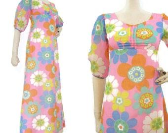 60s 70s Dress Psychedelic Empire Maxi Vintage Flower Power Hawaiian Long S