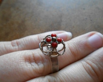 sterling boho kuchi red coral ring - vintage tribal nomadic ethnic sterling silver 925  jewelry