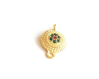 1pc- Matte Gold Plated Green, and Red, Crystal Circle  Connector-20x14x4mm (015-015GP)