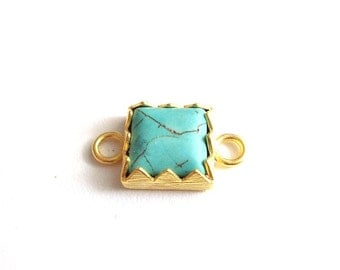 1pc Matte Gold plated with Turquoise connector-30x15mm-(006-022GP)