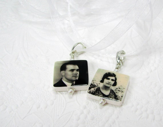 BC3x2 - Bridal Bouquet Charms, 2 Small Memorial Photo Pendants - Custom Wedding Jewelry