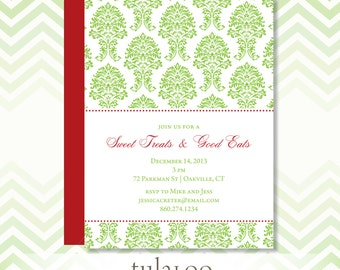 """Holiday Damask Party Invitation - """"Orleans"""""""