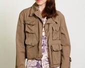 ON SALE 1950s Canvas Jacket . Sport or Fishing Coat