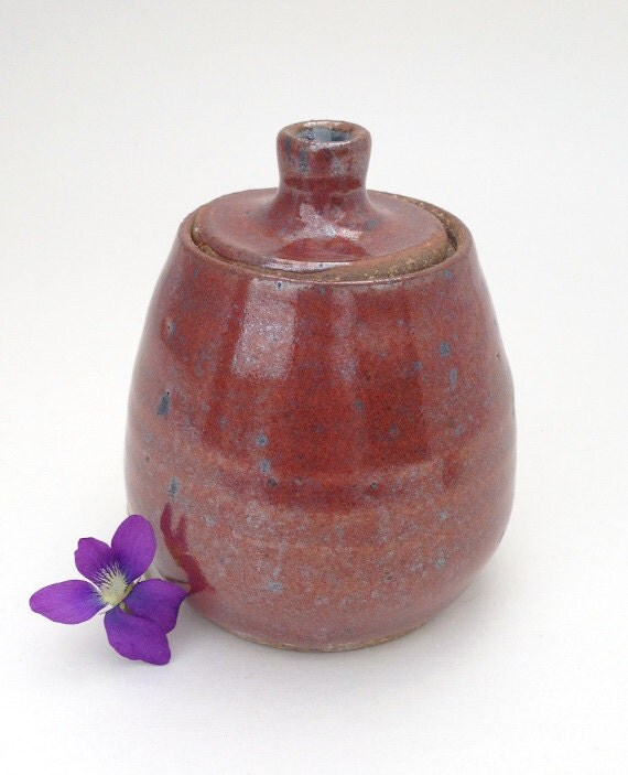 Small Coppery Red Lidded Jar