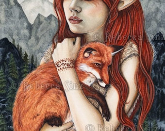 The Protector PRINT Fox Elf Fantasy Art Nature Mountains Corset Orange Red Hair Love Friends Tattoos Tribal Portrait 3 SIZES