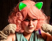 Glowing Green Cat Ears Clip On Geek Cosplay Ravewear Light Up Festival Burningman Neon My Little Pony Costume Alien Anime Blacklight Outfit