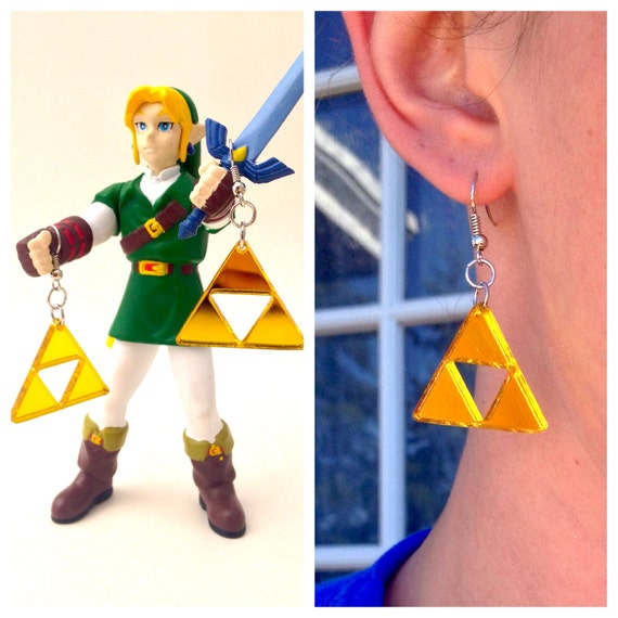 Gold Triforce Acrylic Small Lasercut Geek Earrings, Lightweight Zelda Cosplay Accessory, Link To The Past Comic Con GeekStar Jewelry
