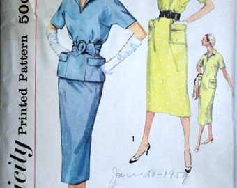 Vintage 50's Simplicity 2342 Sewing Pattern, Misses' Two-Piece And One-Piece Dress, Simple To Make, Size 16, 36 Bust