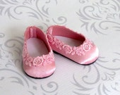 Pretty in Pink - American Girl Doll Shoes Satin Ballet Flats with Venice Lace Trim