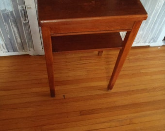Vintage Mid Century Modern Wood Table with Shelf