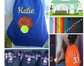 Personalized Cinch Sack Drawstring Bag Baseball, Basketball,Hockey, Soccer, Cheer Custom Embroidery