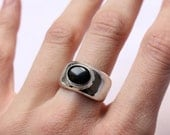 Dark ring made of sterling silver and oval Onyx is made to order in your size, Black Stone ring, Cabochon Ring, Simple, Traditional, Classic