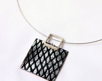 Black and white enamels Necklace, Sterling silver and copper, Network Necklace