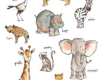 Jungle Nursery Art--Safari Friends--by Kit Chase