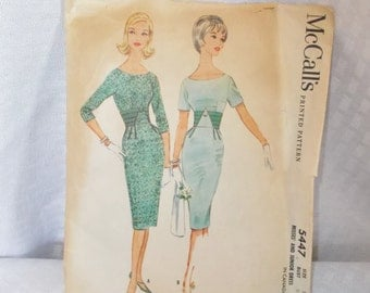 Early 1960's Vintage Wiggle Sheath Dress Pattern McCall's 5447 32 Bust 1960