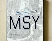 ARTWORK. Up in the Air Series. MSY. New Orleans Airport. MapArt using an original 1904 Map of New Orleans