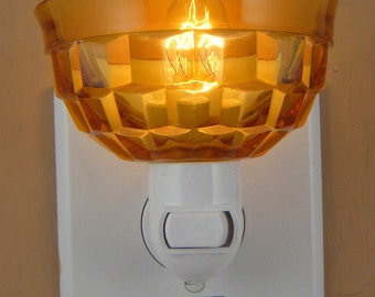 Amber Pressed Glass With Basketweave Pattern  Night Light