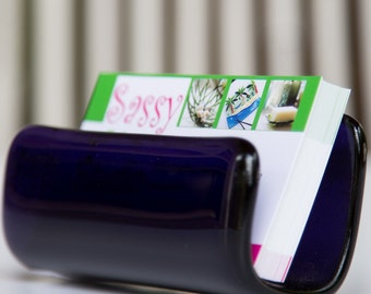 Fused Glass Business Card Holder - purple