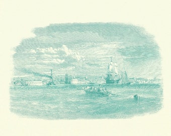 Nautical Print - Rowboat Ships Engraving - Vintage Boat Print - Green Rowboat Book Print - Go Down To The Sea - 1970s