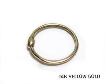 14k solid yellow gold small snug and simple 22 gauge nose ring hoop