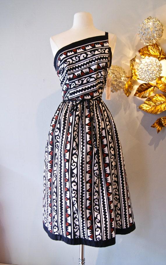 Vintage Lanz Dress 70s One Shoulder Hawaiian Print Dress By