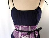 Purple and Silver African Print Waist Cincher Corset Belt B LAST ONE