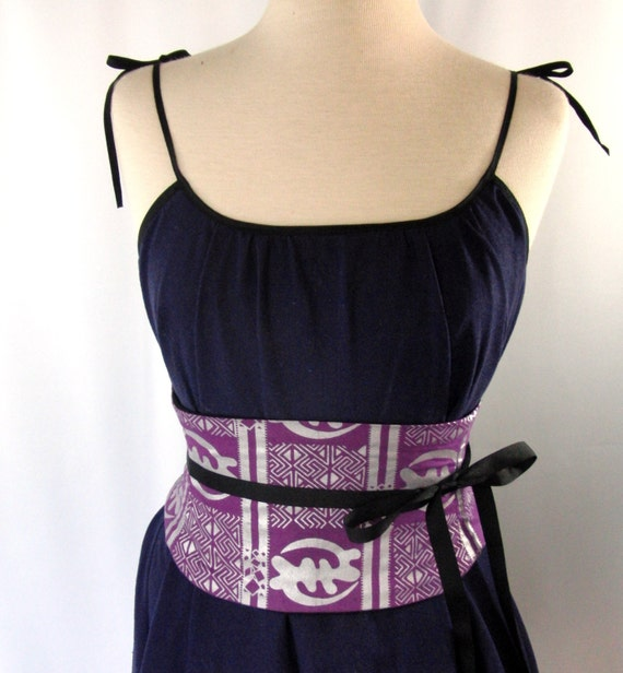 Purple and Silver African Print Waist Cincher Corset Belt B LAST ONE