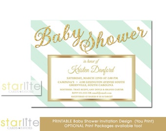 Mint Green and White Stripes Baby Shower Invitation, Mint + Gold Glitter Baby Shower Invitation, Mint Gender Neutral Baby Shower Invite