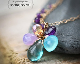 Spring Revival - Amethyst, Chalcedony, Fluorite, and Mystic Quartz Gold Filled Wire Wrapped Flower heart Necklace