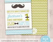 Little Man. Mustache Bash. Bow Tie. First Birthday Invitation. Party Collection. Printed.