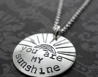 You Are My Sunshine Necklace - Custom Charm Necklace in Sterling Silver by Eclectic Wendy Designs - Inspirational Gifts for Her