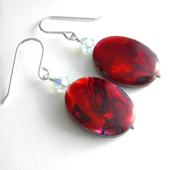 Red Abalone Shell Earrings, Crystal & Seashell Jewelry, Christmas Gift