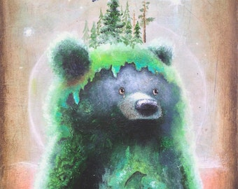 Bear Art Print - 5x7-  Bears -  surreal -  fine art print  -  whimsical -  psychedelic art - pop surrealism