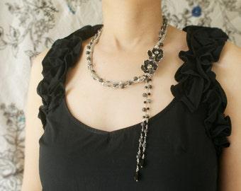 vintage black rose lariat, beadwork, vintage charcoal silver rhinestone brooch, gray labradorite stone chain tassel statement necklace