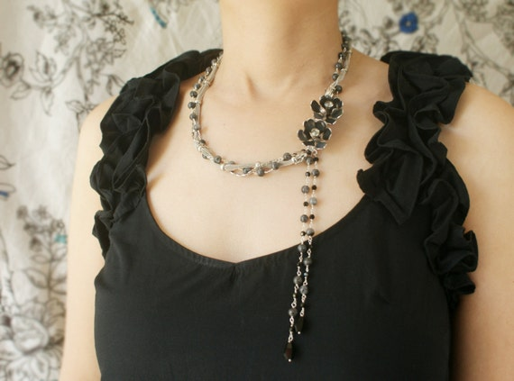 vintage black rose lariat, beadwork, vintage charcoal silver rhinestone brooch, gray labradorite stone chain tassel statement necklace