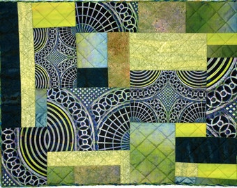 Abstract Green One of a Kind Handmade Fiber Art Quilt Wall Hanging
