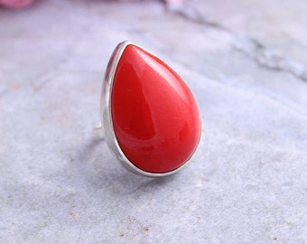 Tear drop ring - Red coral ring - Red ring - Bamboo Coral - Sterling silver gemstone ring - Bezel ring - Gift for her