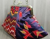 Pod Evening Bag - Purse - Abstract Design - Metal Clip Frame - Kiss Lock Frame - Chain Handle - Orange - Red - Ochre - Aubergine - Purple