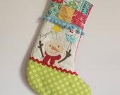 ready to ship Christmas stocking snowman green spot foot