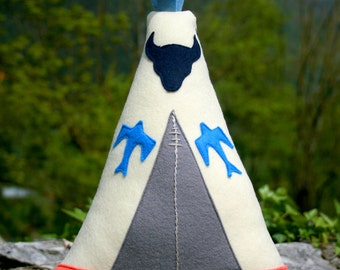 Teepee, tipi, Native American Inspired Stuffed, felt cushion, Decorative pillow, Nursery decoration, New baby gift, Boy or Girl