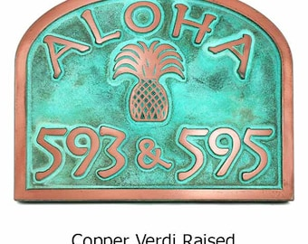 """Aloha Address Plaque or Welcome and Pineapple Home Numbers 16"""" x 12.6"""""""