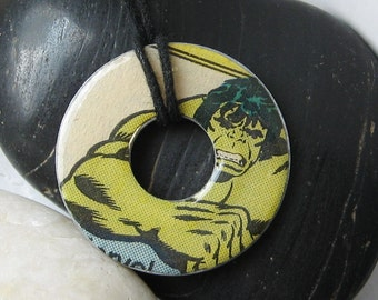 HULK Vintage Upcycled COMIC BOOK Washer Pendant Necklace Marvel Comics The Avengers